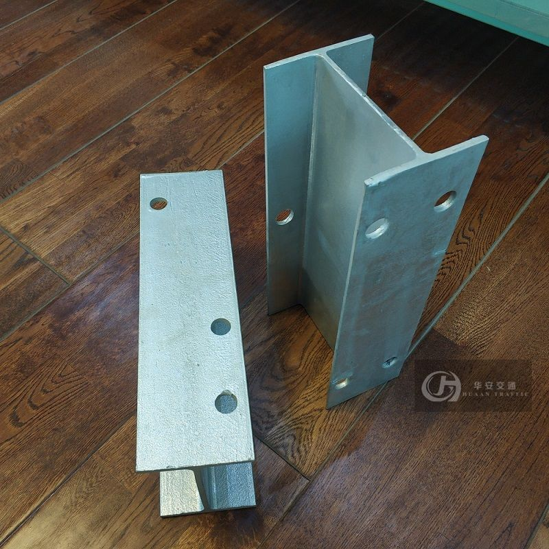 H channel steel guardrail post and spacer blocks