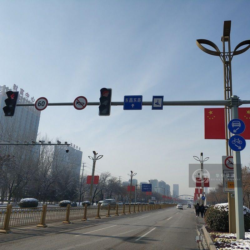 Traffic red green signal light poles