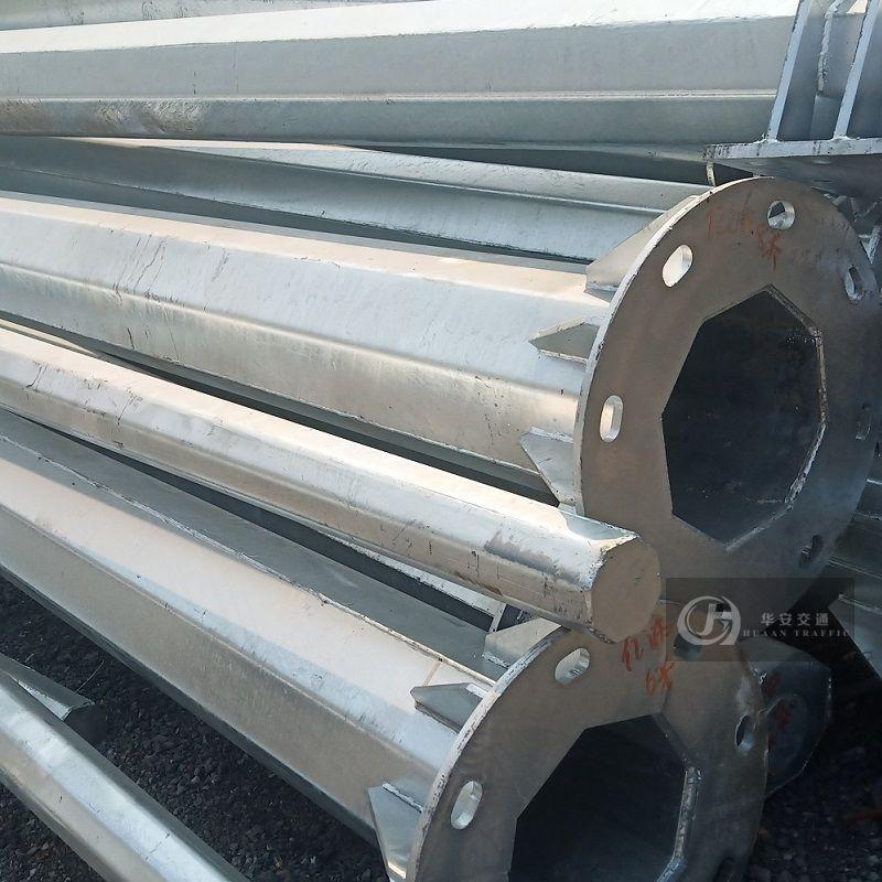 Single column galvanized steel traffic sign poles