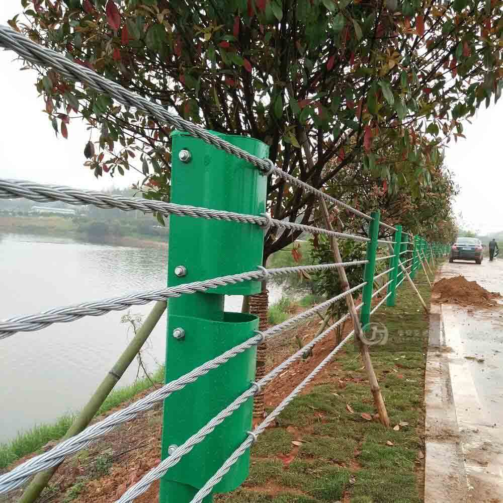 Steel wire rope cable barrier flexible guardrails
