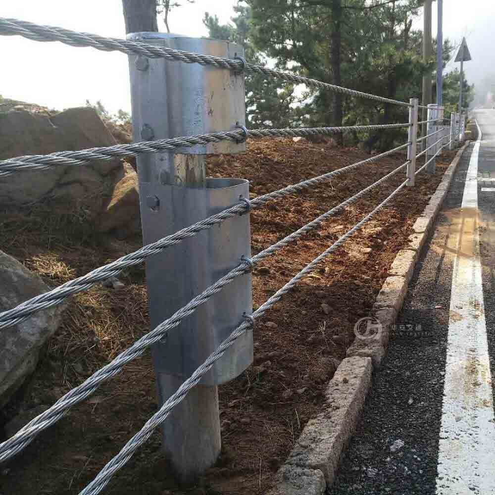 Road side flexible steel wire rope guardrail soft cable barrier